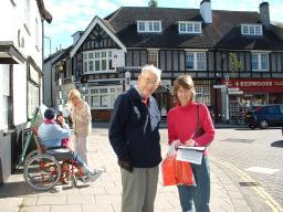 John Wall collects petition signatures in Whitchurch