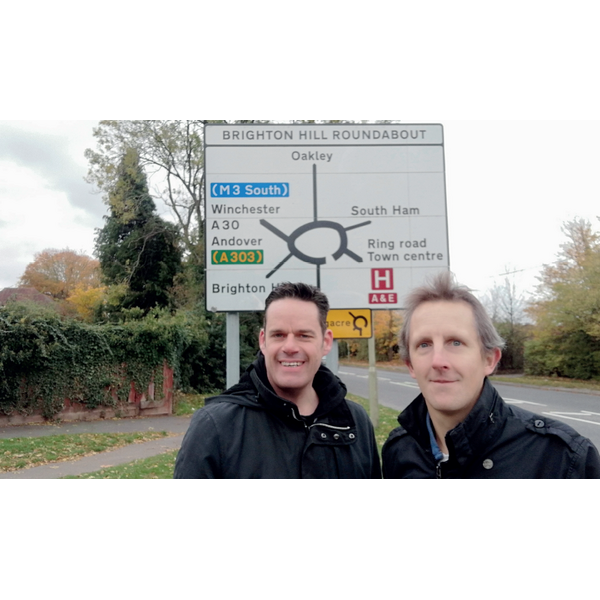 Gavin and Andy at Brighton Hill Roundabout in October 2018